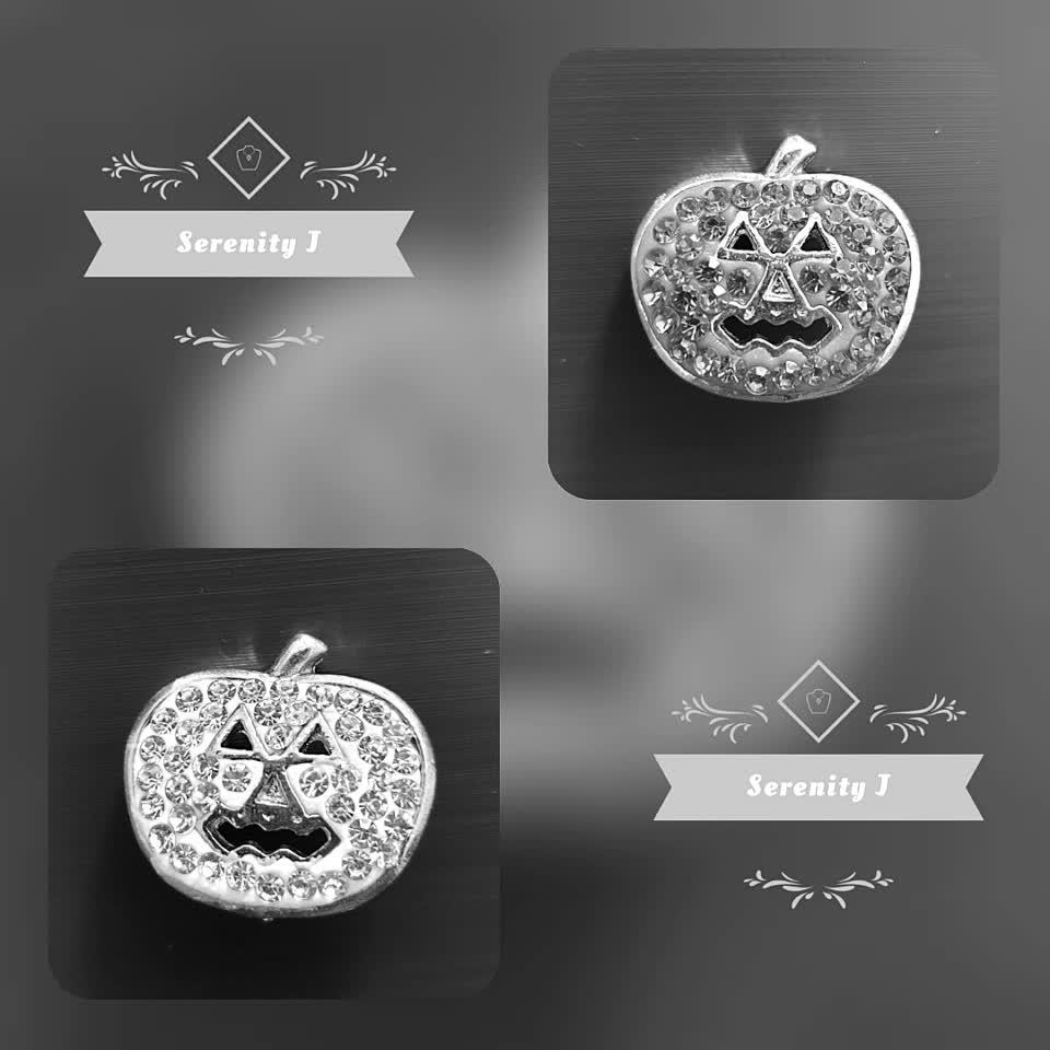 Crystal Halloween Pumpkin Snap Charm  #jewellery #halloween